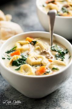 Slow Cooker Creamy Tortellini Soup | http://cafedelites.com