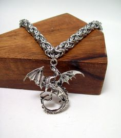 Dragon necklace, dungeons and dragons, mens necklace, geek jewelry by Chainedcreativity, $30.60 USD