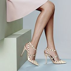 Valentino 1975 Rockstud Leather Slingback Pumps