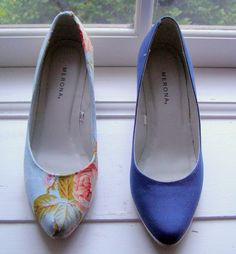 Finished shoe versus old shoe Floral fabric covered shoes tutorial.
