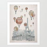 Art Prints featuring Voyages Over Paris by David Fleck