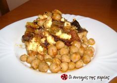Great recipe for Chickpeas in the Dutch oven with eggplants. My husband's favorite recipe and because of it we NEVER have chickpea soup as I like it! Recipe by ΝΟΙΚΟΚΥΡΟΥΛΑ Greek Recipes, Dog Food Recipes, Snack Recipes, Cooking Recipes, Healthy Recipes, Snacks, Greek Dishes, Main Dishes, Side Dishes