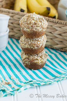Banana Muffins with Walnut Streusel | www.themessybakerblog.com -8509 by jenniephaneuf, via Flickr