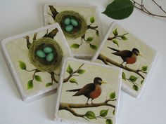 Red Breasted Robin Ceramic Tiles by NaturesHeavenlyArt