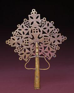Africa | Ethiopian Cross.  Brass.  H: 37.00 cm, W: 28.00 cm.  Collected c. 1968
