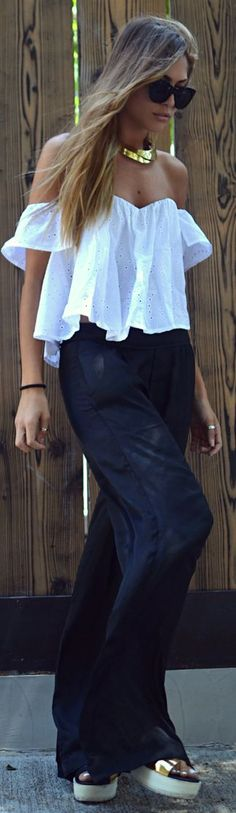 J'aime Les Garçons White Girly Eyelet Loose Off The Shoulder Top by Twin Fashion ***a shame the shoes are all wrong.