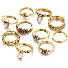 Gold Color Flower Midi Ring