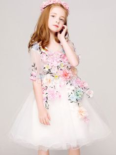 Flower Girl Dresses White Tutu Dress Half Sleeve Applique Knee Length Kids Pageant Dresses