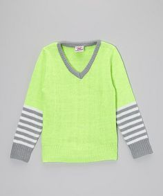 This Lime Stripe V-Neck Sweater - Toddler & Girls by Real Love is perfect! #zulilyfinds