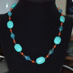 """Turquoise Oval Bead and Blue Crystal Silver Toned Fashion 18"""" Necklace (n7)"""