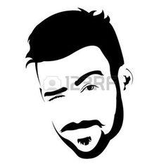 coiffures hommes: Portrait de jeune homme barbu charmant clin d'?il à la caméra. Facile modifiable couches illustration vectorielle.