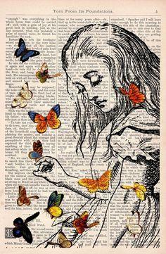Livro impressão Alice no País das Maravilhas Jogando com borboletas impressão na arte Vintage Dicionário Livro