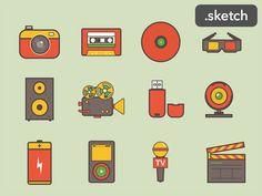 Media Icons  レトロな配色でペイントされたアナログレコードや、スピーカーなどメディア関連アイテムをセットに。