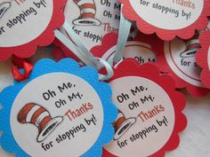 Dr Seuss Party Favor Tags 12 pack Also cupcake toppers and banners available
