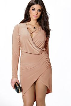 £18 Plus Lydia Wrap Front Slinky Dress
