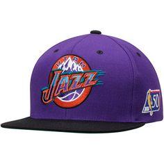 buy online b6d5b 284a3 Men s Utah Jazz Mitchell   Ness Purple Black NBA 50th Anniversary Snapback  Adjustable Hat