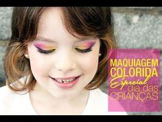 Maquiagem Colorida: Dia das Crianças por Carol Pfuetzenreiter {Glitterinado} - YouTube