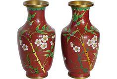 Adeeni Design Group: Pair of Rust Floral Cloisonné Vases