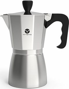 Vremi Stovetop Espresso Maker - Moka Pot Coffee Maker for Gas or Electric Stove Top - 6 Cups Demitasse Espresso Shot Maker for Italian Espresso Cappuccino or Latte - Silver -  A morning without espresso? That's just plain depresso. Make every day more brew-tiful with the Vremi Stovetop Espresso Maker moka pot, and get moving with an authentic Italian buzz, no matter which side of the bed you wake up on. A simple espresso machine that makes full-flavored espresso in no...
