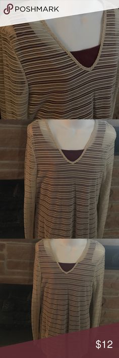 Sexy sheer striped tunic Express brand sheer striped cream colored tunic. Looks cute with leggings or skinny jeans. Tank top not included. Express Tops Tunics