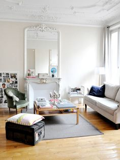 Morgane Sezalory is the founder and art director of Les Composantes and her home in the 4th arrondissement of Paris is full of color juxtaposed with chic white basics.