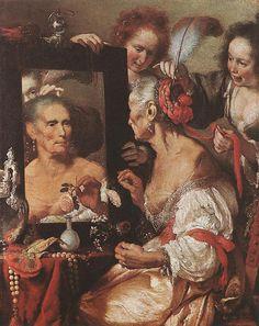 Bernardo Strozzi, Old Woman before the Mirror / femei-in-oglinda-batrana-la-oglinda