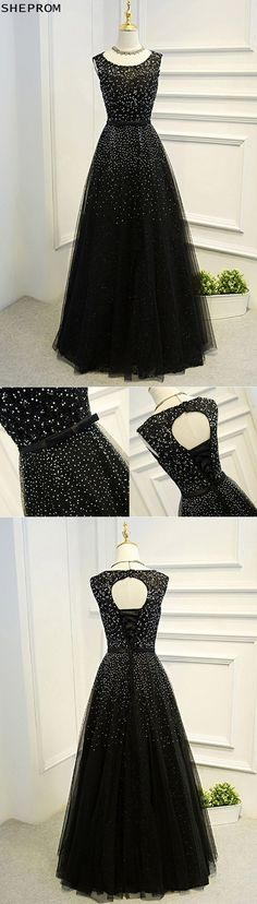 Shop Sleeveless Beaded Long Black Ballgown Prom Dress With Bling online. SheProm offers formal, party, casual & more style dresses to fit your special occasions. Pretty Prom Dresses, Black Wedding Dresses, Beautiful Dresses, Nice Dresses, Long Dresses, Formal Dresses, Fancy Gowns, Cinderella Dresses, Custom Dresses