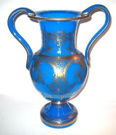A Large French Century Blue Opaline Vase. Love Blue, Blue Green, Antique Vases, Vintage Glam, Opaline, Antiquities, Victorian Era, Cobalt Blue, Shades Of Blue