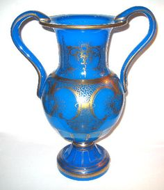 A Large French 19th Century Blue Opaline Vase.