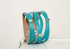 Braided  Teal Genuine Leather Bracelt by Justlena,