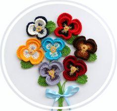 Crochet Applique Multicolored Flowers Pansy by CraftsbySigita