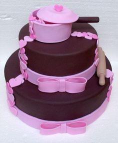 Imagem relacionada Kitchen Shower Decorations, Bolo Fack, Baking Party, Little Chef, Unique Cakes, Wedding Preparation, Cold Porcelain, Chocolate Cake, Biscuits