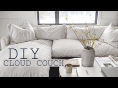 DIY cloud couch on a budget! How I made my dream couch, cloud couch tutorial video, home design tips, styling your home, and more! Diy Sofa, Living Room Sofa, Home Living Room, Home Design, Deep Couch, Modular Couch, Comfortable Couch, Couch Cushions, Couches