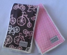 Pink and Gray Burp Cloth Set