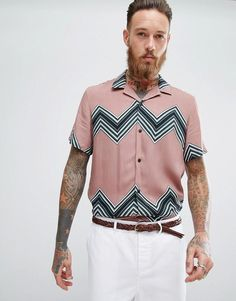 Asos Regular Fit Viscose Chevron Stripe Shirt In Pink Half Sleeve Shirts, Half Sleeves, Chevron, Asos Online Shopping, Online Shopping Clothes, Latest Fashion Clothes, Fashion Online, New Outfits, Pink