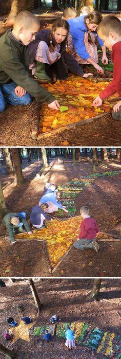 Du dessin grandeur nature avec des brindilles et les feuilles d'automne.