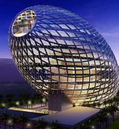 The Egg office building in Mumbai, India. Indian developers Vijay Associates have commissioned James Law Cybertecture to create this 13 floor office building in Mumbai's new Central Business District. It is set to be complete in late Unusual Buildings, Interesting Buildings, Amazing Buildings, Modern Buildings, Office Buildings, Modern Houses, Architecture Unique, Futuristic Architecture, Office Building Architecture