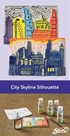 Create a City Skyline Silhouette with this ceramics lesson plan. The plan includes objectives, grade levels and National Core Arts Standards correlations, along with complete directions and materials list. Developed by our Sax Art Consultants. The Plan, How To Plan, Child Teaching, Teaching Art, Art Lessons Elementary, Lessons For Kids, Kids Room Art, Art For Kids, Art Children
