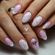 Evening french manicure, French manicure ideas 2017, Gel polish on the nails oval, Medium nails, Monogram nails, Nails with stones, Oval French manicure, Smart nails Nice neat lovely  Pinky Love