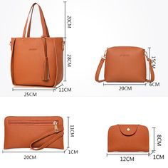 4 PCS PU Leather High-end Handbags For Women Shoulder Bags