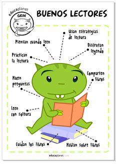 Un cartel o póster resumen con consejos y frases para preparar buenos lectores…