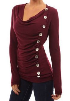 Vogue Cowl Neck Long Sleeve Button Embellished Blouse