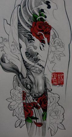 Koi and rose tattoo design