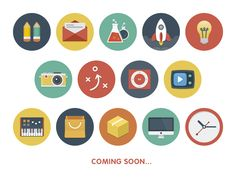 Best Examples of Modern Flat Icon Set Icon Design, Web Design, Flat Design Icons, Flat Icons, Whiteboard Animation, Flat Illustration, Design Reference, Icon Set, Flats