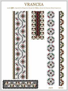 Semne Cusute: ie din MOLDOVA, Vrancea, Vidra Cross Stitch Borders, Cross Stitch Patterns, Beading Patterns, Embroidery Patterns, Moldova, Hama Beads, Cross Stitch Embroidery, Pixel Art, Folk Art