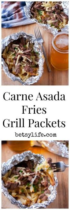 Did you know you can make frozen french fries on the grill?? Carne Asada Fries Grill Packets are my favorite easy dinner for the summer time.