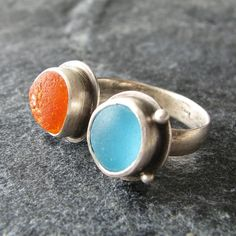 Sea Glass Jewelry Ring size 6 Orange and by MonicaBranstrom, $160.00