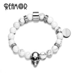 REAMOR 7.5 Punk 316l Stainless Steel Skull Beads Braided Leather Rope Bracelets with Adjustable Chain