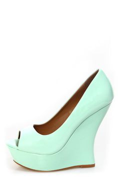 These might work for outdoors and the price is great! Paris Mint Patent Peep Toe Platform Wedges - $49.00