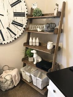 Leaning Ladder Shelf Farmhouse Style